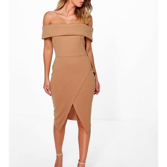 1a643b623b471 Boohoo Dresses | Off Shoulder Wrap Skirt Midi Dress | Poshmark